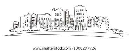 Modern cityscape continuous one line vector drawing. Metropolis architecture panoramic landscape. New York skyscrapers hand drawn silhouette. Apartment buildings isolated minimalistic illustration Royalty-Free Stock Photo #1808297926