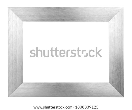 Silver brushed metal picture frame isolated on white background, light reflections on surface