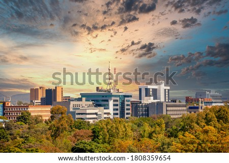 Aerial panorama of Gaborone city the capital of Botswana #1808359654