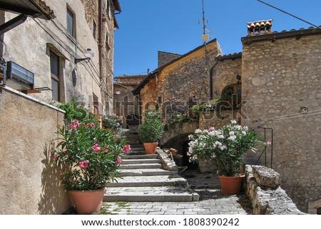 An alley of Santo Stefano di Sessanio, ancient hill town in the province of L'Aquila, Abruzzo region, Italy, located in the Gran Sasso e Monti della Laga National Park. #1808390242