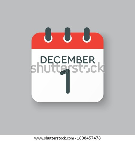 Vector icon calendar day - 1 December. 1th days of the month, vector illustration style. Date day of week Sunday, Monday, Tuesday, Wednesday, Thursday, Friday, Saturday. Winter holidays in December. Royalty-Free Stock Photo #1808457478