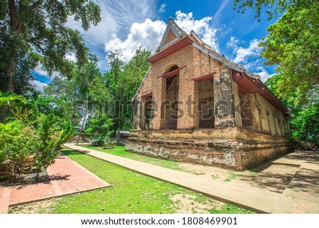 Background of religious tourist attractions in Mae Nang Pluem temple, Ayutthaya province of Thailand, large ancient pagodas and beautiful churches, allowing tourists to make merit and take pictures.