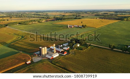 Aerial view of farm, red barns, corn field in September. Harvest season. Rural landscape, american countryside. Sunny morning Royalty-Free Stock Photo #1808739919