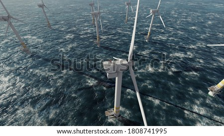 Two offshore workers on the top of the windmill, wind farm Royalty-Free Stock Photo #1808741995