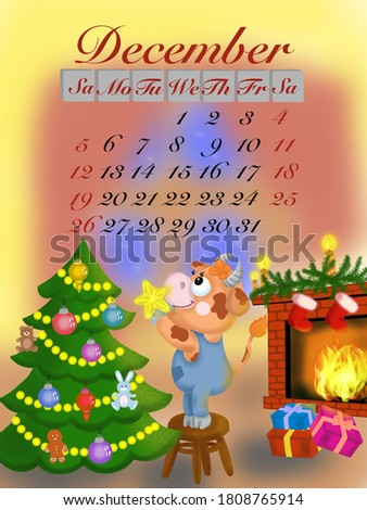 new year's calendar with the symbol of the year bull for 2021 dresses up the Christmas tree and presents