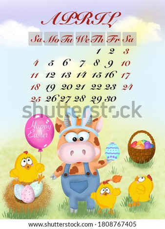 calendar with the symbol of the year bull for 2021 April Easter colored eggs chickens