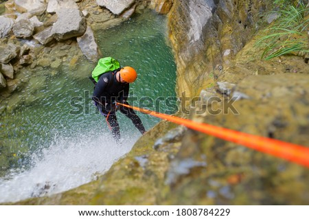 Canyoneering Furco Canyon in Pyrenees, Broto village, Huesca Province in Spain. Royalty-Free Stock Photo #1808784229