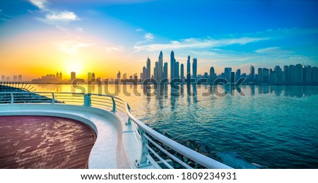 During a cruise in Dubai taking a picture of the great sunset.