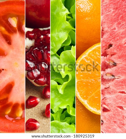Healthy food background. Collection with different fruits and vegetables #180925319