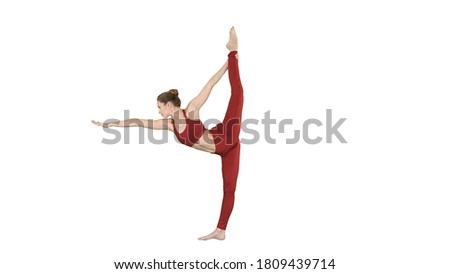 Yoga pose, woman doing stretching legs, leg split on white background.