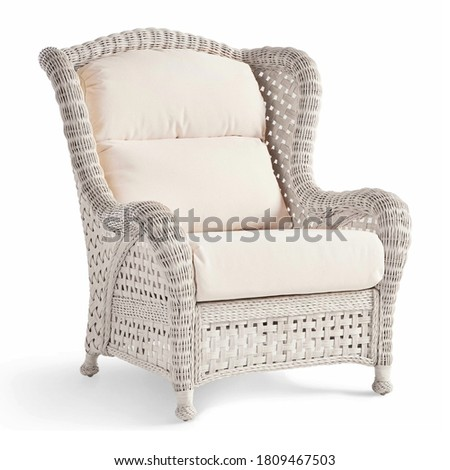 Wicker Armchair Isolated on White. Side View Dining Arm Chair with Cotton Fabric Cushion Seat in Gray & Beige. Patio Furniture. All-Weather Outdoor Weave Rattan Loveseat. Outdoor Beach Chair Royalty-Free Stock Photo #1809467503