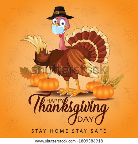 happy thanksgiving day typography. turkey bird with pumpkins and  corn Thanksgiving design use for prints,flyers,banners, invitations,special offer. vector illustration. covid19, coronavirus concept. #1809586918