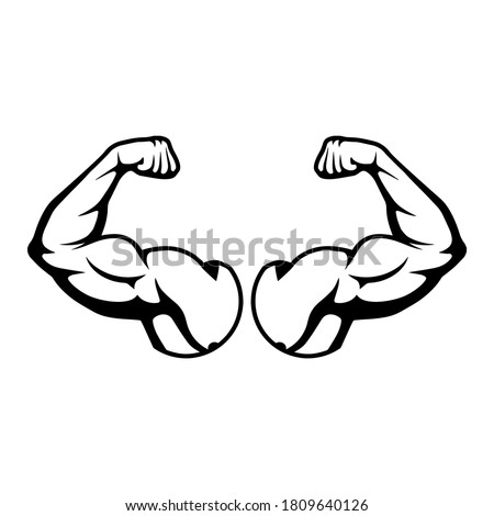 Cartoon hard muscle. Strong arm, boxer arms muscles and strength from hard gym. Arm fitness guy with hands, body muscle flexing or strong biceps logo. Icon Isolated vector illustration EPS 10 Royalty-Free Stock Photo #1809640126