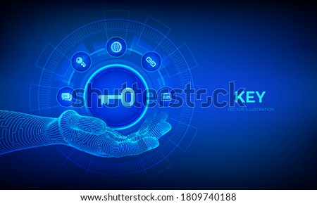 Key icon in robotic hand. Keyword. Key to success or solution. Turnkey solution and services technology concept on virtual screen. Vector illustration. Royalty-Free Stock Photo #1809740188