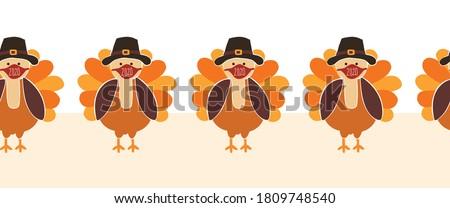 Thanksgiving Turkey wearing a face mask Seamless Vector Border. Turkeys wearing Coronavirus pattern design. Covid 19 virus autumn art for Holiday 2020 decoration, invitation, greeting cards, face mask #1809748540