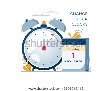 Daylight Saving Time ends concept. Calendar with marked date, text Change your clocks. The hand of the clocks turning to winter time. DST ends in usa, vector illustration in modern flat style design #1809761461