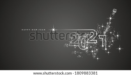 New Year 2021 line design firework champagne white black vector #1809883381