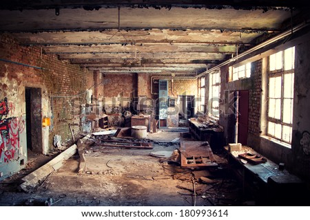 Industrial Interior of an old abandoned building #180993614