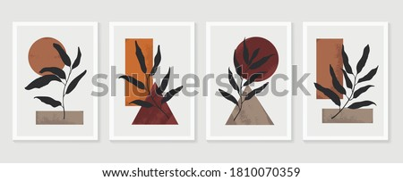 Botanical wall art vector set. Foliage line art drawing with  abstract shape.  Abstract Plant Art design for print, cover, wallpaper, Minimal and  natural wall art. Vector illustration. #1810070359