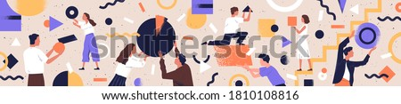 Concept of co working, business partnership, analytics or teamwork. Colleagues work together. Flat vector textured illustration of horizontal background with abstract people and geometrical shapes #1810108816