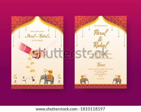 Indian Wedding Invitation Card, Template Layout with Venue Details in Front and Back View. Royalty-Free Stock Photo #1810118197