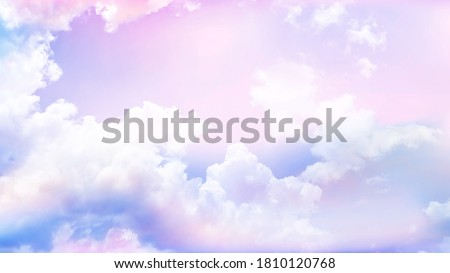 purple sky background with white cloud.Fantasy cloudy sky with pastel gradient color, nature abstract image use for background.