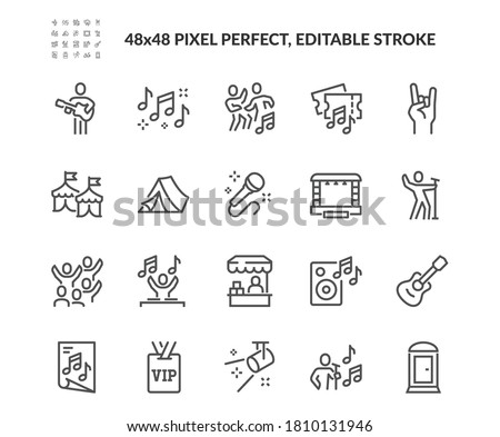 Simple Set of Music Festival Related Vector Line Icons. Contains such Icons as Singer, Stage, Happy People in Crowd and more. Editable Stroke. 48x48 Pixel Perfect. Royalty-Free Stock Photo #1810131946