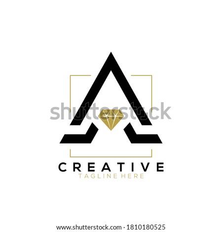 Elegant black letter A diamond jewellery logo with gold square line