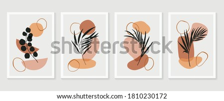 Botanical wall art vector set. Floral and Foliage line art drawing with  abstract shape.  Abstract Plant Art design for print, cover, wallpaper, Minimal and  natural wall art. Vector illustration. #1810230172
