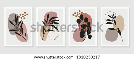 Botanical wall art vector set. Floral and Foliage line art drawing with  abstract shape.  Abstract Plant Art design for print, cover, wallpaper, Minimal and  natural wall art. Vector illustration. #1810230217