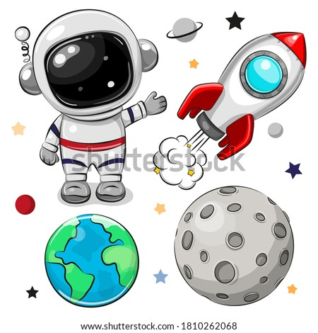 Cute Cartoon space set of astronaut, rocket and planets Royalty-Free Stock Photo #1810262068