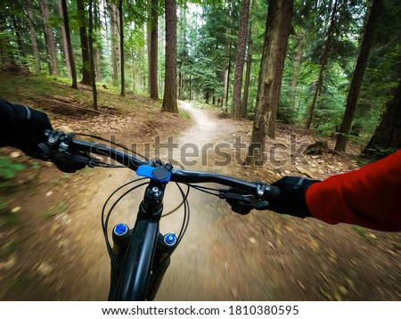 Mountain biker riding on flow single track trail in green forest, POV behind the bars view of the cyclist. Royalty-Free Stock Photo #1810380595