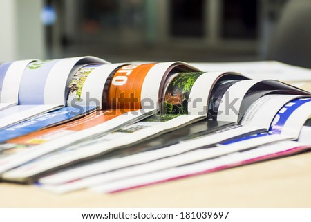 magazine spread in the office, in the background and the reception office Royalty-Free Stock Photo #181039697