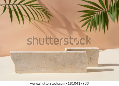 Minimal modern product display on beige background with podium with palm leaves Royalty-Free Stock Photo #1810417933