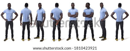 full portrait of a man, various poses, on white background Royalty-Free Stock Photo #1810423921