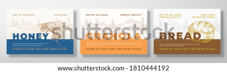 Hone, Granola and Bread Food Label Templates Set. Abstract Vector Packaging Design Layouts Bundle. Modern Typography Banners with Hand Drawn Rural Landscape Background. Isolated. Royalty-Free Stock Photo #1810444192