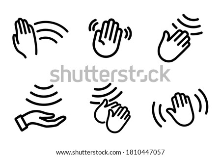 Hand sensor. Hand towel and soap dispenser, automatic hand dryer and water tap sensor touch sign. Hand wash gel vector. Сontactless Washes and drying hands icon. Hands hygiene. Alcohol gel #1810447057
