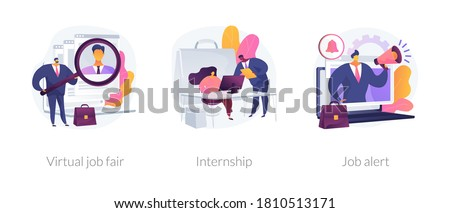 Job proposal abstract concept vector illustration set. Virtual job fair, internship, job alert, online hiring, human resources service, professional growth, career building abstract metaphor. #1810513171