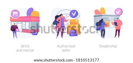 Retail business abstract concept vector illustration set. Brick and mortar, authorized seller, dealership, local rental shop, official retailer, brand representative, partnership abstract metaphor. #1810513177