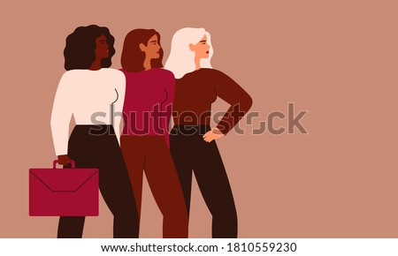 Confident businesswomen stand together. Strong females entrepreneurs support each other. Vector Concept of equitable participation of women in politics and business. Royalty-Free Stock Photo #1810559230