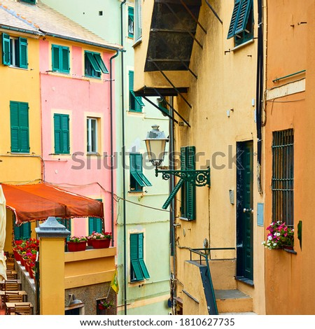 Colorful view of old street in Boccadasse district in Genoa (Genova), Italy. Italian cityscape Royalty-Free Stock Photo #1810627735