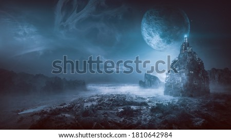 Futuristic night post apocalyptic scenario with abstract alien landscape and moonlight glow in neon blue light. Royalty-Free Stock Photo #1810642984