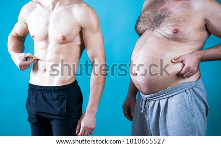 Fat man. Muscular and fat. Different bodies. Before and after diet and workout. Muscular and fat mans. Weight loss. Two men measure their fat #1810655527