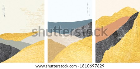 Japanese background with gold foil texture vector. Abstract landscape template with hand drawn wave pattern in oriental style. #1810697629