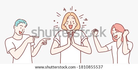 Happy group of young people. Hand drawn style vector design illustrations. Royalty-Free Stock Photo #1810855537