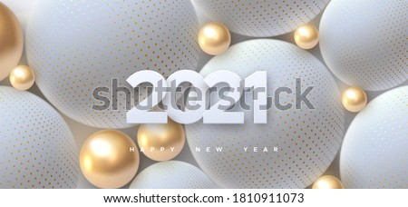 Happy New 2021 Year. Holiday vector illustration of white paper numbers 2021 and abstract balls or bubbles. 3d sign. Festive poster or banner design. Party invitation #1810911073