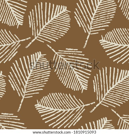 Mono print style scattered leaves seamless vector pattern background. Simple lino cut effect skeleton leaf foliage on caramel brown backdrop. At home hand crafted design concept. Repeat for packaging Royalty-Free Stock Photo #1810915093