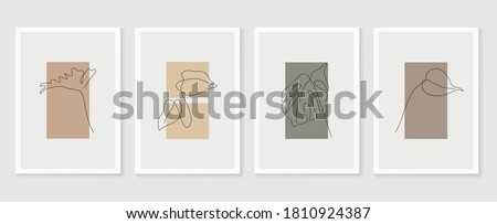 Botanical wall art vector set. Foliage line art drawing with  abstract shape.  Abstract Plant Art design for print, cover, wallpaper, Minimal and  natural wall art. Vector illustration. Royalty-Free Stock Photo #1810924387