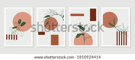 Botanical wall art vector set. Foliage line art drawing with  abstract shape.  Abstract Plant Art design for print, cover, wallpaper, Minimal and  natural wall art. Vector illustration. #1810924414