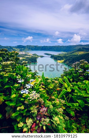 The Astonishing Lagoon Of The Seven Cities (Lagoa Das 7 Cidades), In Sao Miguel Azores, Portugal. Lagoon of the Seven Cities, Sao Miguel island, Azores. Ocean, aerial. Sao Miguel, Azores, Portugal. #1810979125